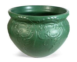 LARGE ANTIQUE EARLY BAUER CALIFORNIA POTTERY MATTE GREEN JARDINIERE PLANTER POT