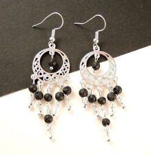 1 Bohemian Natural Pair of Black Lava Stone Dangle Earrings - #1109