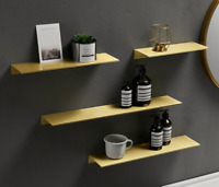Wall Mounted Bathroom Brass Brushed Gold Shower Caddy rectangle Storage Shelves