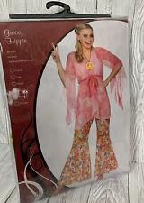 WICKED COSTUMES UK L Groovy Hippie Fancy Dress Floaty Top & Floral Trousers