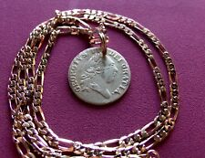 """1701 UK 1/2 Guinea George III Gaming Token Pendant on a 24"""" Gold Filled Chain"""