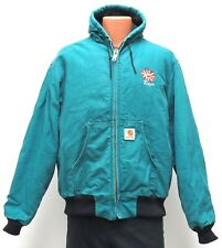 vtg Carhartt AQUA GREEN DUCK ACTIVE JACKET XL Quilted Flannel Lined J04 usa 90s