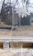 "11-7/8""x 3"" SLIM LONG NECK CHIMNEY CRYSTAL GLASS FITS ALADDIN OIL LAMP 1-7/8""TOP"