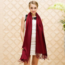 Women Oversized Cashmere Wool Solid Pashmina Scarf Wraps Warm Blanket Scarves.