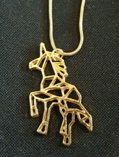 Gold Tone Unicorn necklace 17 inch snake chain