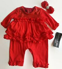 Isobella & Chloe Baby Girls Size 3M Red Sequin Holiday Romper (One-piece)
