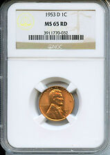 **Beautiful Blazing MS65RD 1953 D  Lincoln Cent **