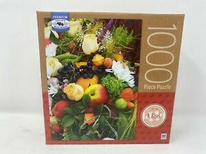 Milton Bradley Fruit & Flowers 1000 Piece Puzzle Art by A. Basel New
