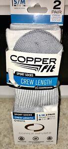 COPPER FIT CREW SPORT SOCKS 2 PAIR MENS S/M MEN SIZE 5-9 & WOMEN 6-9 NIP $15