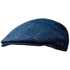 Blue Wool Flat Cap - Mucros Weavers Wool Tweed Hat, Medium Trinity 34