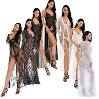 Women Lace Floral Long Dress Gown Thongs Babydoll Lingerie Bath Robe Sleepwear