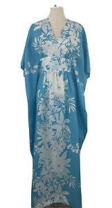 Sand Pebble of Hawaii Womens' Vtg 60s MuMu Dress Size S M OS Blue White Aloha