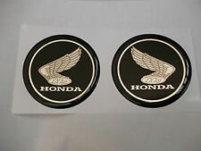 HONDA TANK BADGES DOMED RESIN GEL OLD WING STYLE BLACK CHROME