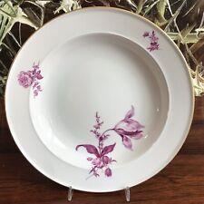 MEISSEN Blume Purpur  - edler Teller tief mit Goldrand Ø 24,5 cm