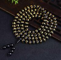 Party chic meditation 8mm 108 Six Words of Mantra beads Obsidian Bracelets