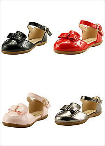 Stylish Girl's Flat Sandal Dress Shoes 4 Glossy Colors Mary jane Toddler size