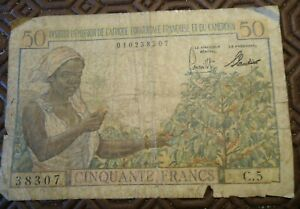 billet 50 F instutut d'émission Afrique equatoriale française et du cameroun