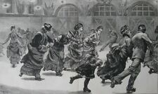 1875 Three Large Engravings - ICE-SKATING & EARLY ROLLER-SKATING IN LONDON