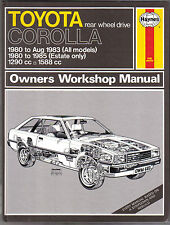 Toyota Corolla rear wheel drive Haynes Workshop Manual 1980-85