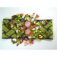 Loomed Designer Bracelet w/ Pearls Crystals Leaves