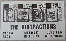 THE DISTRACTIONS Gig Poster BACK IN 15 MIN on Back FRONT DOOR Rare NEAR MINT
