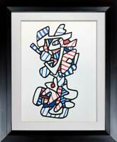 Jean Dubuffet LITHOGRAPH Limited EDITION - 1973 Red, White, Blue + Custom Frame
