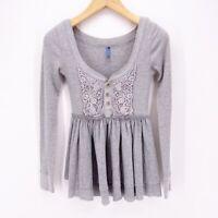 Free People Womens Henley Shirt Gray Long Sleeve Scoop Neck Pleated Crochet S