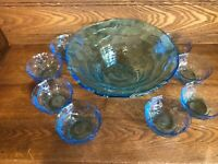 "Vintage Blue Ice Art Glass Bowl Set 9 Pc Set 11 1/2"" with 8 Matching Bowls"