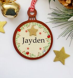 Personalised Christmas Name Bauble Tree Decoration  10cm x 8cm