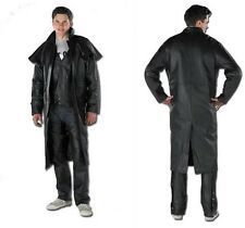 Jacket Dust Coat Black Long Leather Men Duster Black Rock Biker Size M