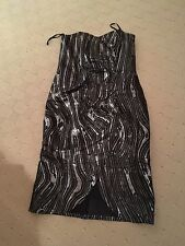 ARISTOS Ariella Boned Corset Black and Silver Real Leather Dress UK 12