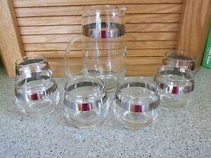 Mid Century Brandy cognac snifter MCM bar set pitcher w/ 6 silver band glasses