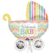 Welcome Baby Shower Party Pram Supershape Helium Neutral Foil Balloon Decoration