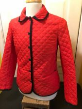 Brooks Brothers Red Fleece Red Quilted Button Down Coat Jacket Women's Sz 6 New