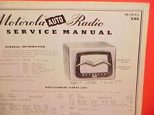 1950 MOTOROLA AUTO CAR AM RADIO FACTORY SERVICE SHOP REPAIR MANUAL MODEL 501