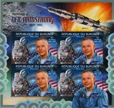 Neil Armstrong NASA APOLLO XI LUNE astronaute espace STAMP SHEET #3 (2012 Burundi)
