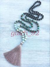 Mala Amazonite Turquoise 108 bead tassel necklace chakra yoga meditation #92