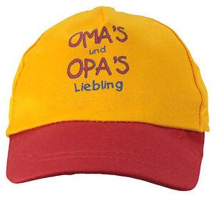 Kinder Cap Mütze * Omas & Opas Liebling *  gelb-rot