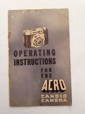 operating instructions for the ACRO candid camera Booklet Guide 1940s