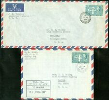 EDW1949SELL : BRITISH ANTARCTIC 2 Scarce commercially Used Air Mail envelopes