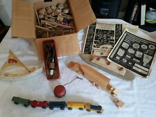 VINTAGE WOODEN TOYS, TRUCK, TRAIN, YOYO, BOATS, WOOD BURNER, & TINKER TOYS