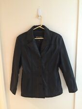 Wilsons Black leather jacket lined button up blazer top women Small EUC!
