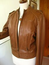 Ladies AUTOGRAPH M&S brown tan real leather JACKET XL UK 18 20 biker cropped