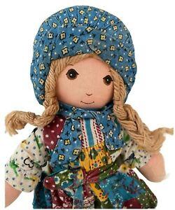 "Vtg 70s Knickerbocker Original Holly Hobbie Fabric Clothes Rag Doll Yarn Hair 9"""