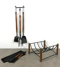 Vintage Iron Wood Wall Fireplace Tool Set Log Holder Rack Mid Century Modern