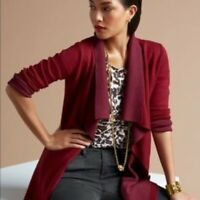 Cabi Womens Med Cozy Up Maroon Open Front Cardigan Sweater #3479