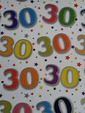 5 SHEETS OF GOOD QUALITY THICK GLOSSY 30TH BIRTHDAY WRAPPING PAPER