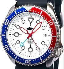 """Vintage mens SEIKO diver 7002 GMT PEPSI *mod SWISS dual-time w/WHITE """"Tuna"""" dial"""