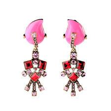 Pink Crystal Embellished Clip-on Drop Earrings Resin Flower Christmas Gift Jewel