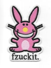 """It's Happy Bunny Saying """"fzuckit."""" Embroidered Puff Design Patch NEW UNUSED"""